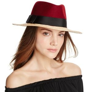 NWT Kate Spade Colorblock Wool Crown Fedora
